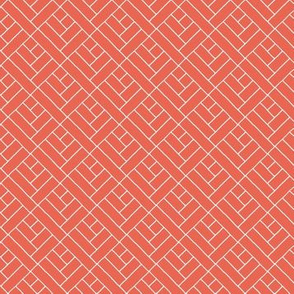 Simple Herringbone // white on coral