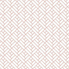 Simple Herringbone // coral on white