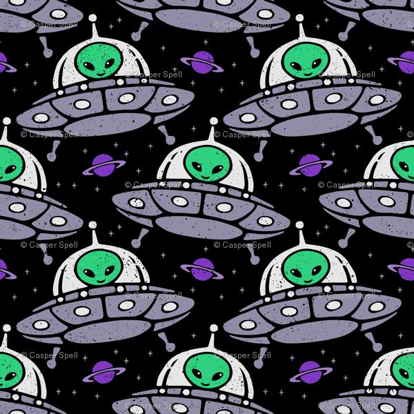 UFO Space Aliens in Flying Saucers wallpaper - casperspell - Spoonflower