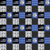 "(1"" scale) police patchwork fabric - thin blue line - blue chevron C19BS"