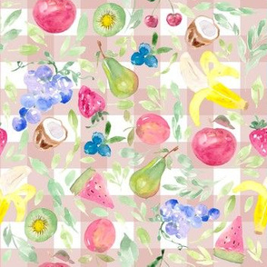 Watercolor Fruit and Pink Gingham