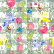Watercolor Fruit Gingham Forest Green