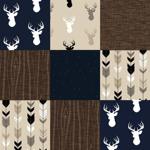 Midnight Woodland with Navy Deer