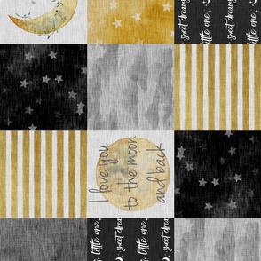 Love you to the moon and back - Black And gold - rotated
