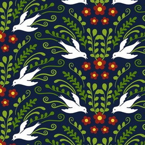 Decorative Birds and Blooms on Midnight