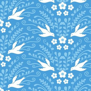 Decorative Birds and Blooms Blue and White