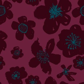 Burgundy Blue Dark Flowers