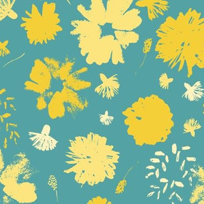 Yellow Painterly Stamped Flowers