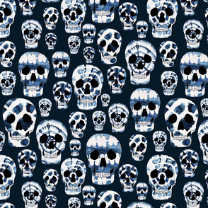 Indigo Shibori Skulls
