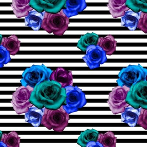Dramatic Roses on Stripes