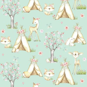 WhisperWood Nursery (seafoam) – Teepee Deer Fox Bunny Trees Flowers - SMALLER scale