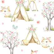 WhisperWood Nursery (white) – Teepee Deer Fox Bunny Trees Flowers - MEDIUM  scale