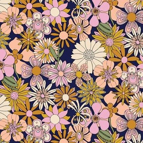 Chelsea* (Desert Night)    vintage 60s 70s enamel pin brooch flower floral garden pastel sheet illustration spring summer bouquet mustard gold