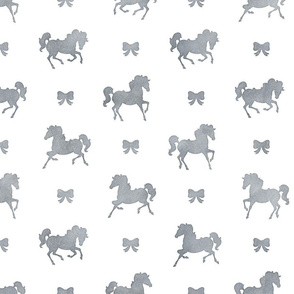 Horses and Bows Pattern in Smokey Grey Watercolor on White