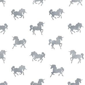 Unicorn Pattern in Smoke Grey Watercolor on White