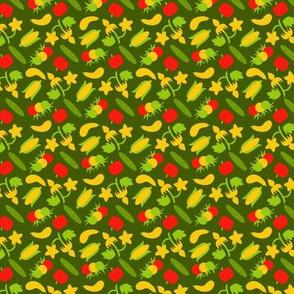 Ditsy Summer Veggies - Green