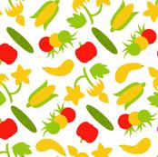 Ditsy Summer Veggies - White
