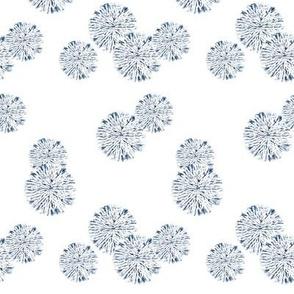 Scattered Shibori Circles  - White