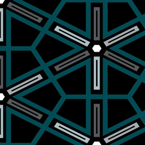 The Green the Grey and the Black: Geometric Starburst - LARGE
