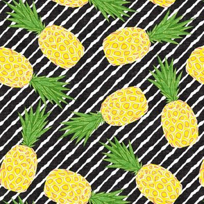 Pineapples - Dark Grey stripes - Summer - LAD19