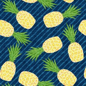 Pineapples - Dark blue stripes - Summer - LAD19