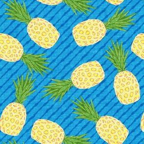 Pineapples - Blue stripes - Summer - LAD19