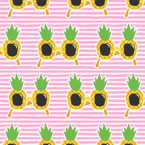 Pineapple Sunnies - summer sunglasses - pink stripes - LAD19