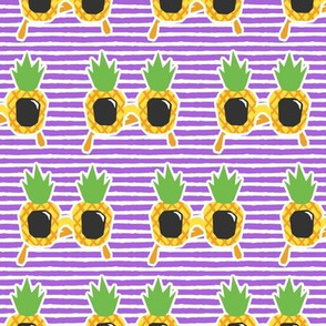 Pineapple Sunnies - summer sunglasses - purple stripes - LAD19