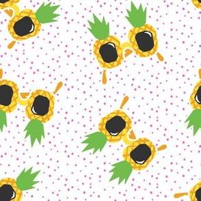 Pineapple Sunnies - summer sunglasses - pink polka - LAD19