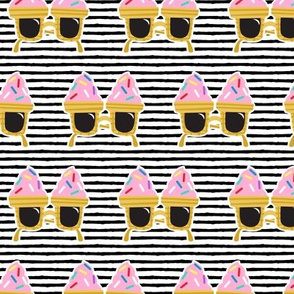 Ice cream Sunnies - summer sunglasses - black stripes - LAD19