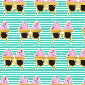 Ice cream Sunnies - summer sunglasses - teal stripes - LAD19