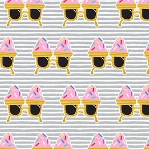 Ice cream Sunnies - summer sunglasses - grey stripes - LAD19