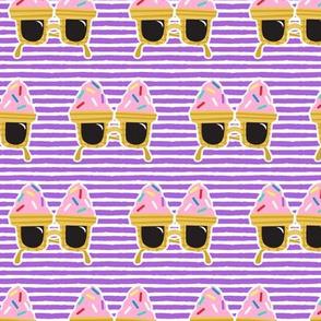 Ice cream Sunnies - summer sunglasses - purple stripes - LAD19