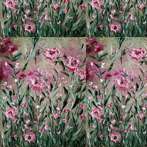 pink flowers in green