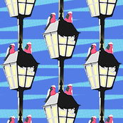 Lamplight Galahs - pop art (cornflower) - half size