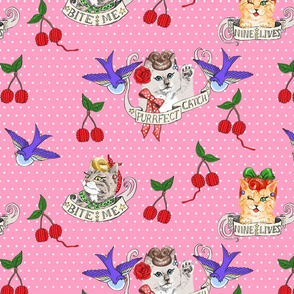 Rockabilly Cats in Pink