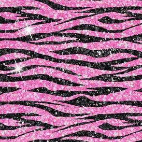 Zebra pink black glitter