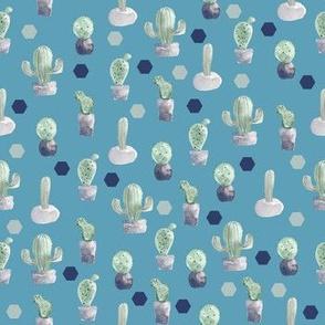 Watercolor Cactus Pot Plants Palace Blue