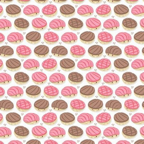 Kawaii Mexican conchas // tiny scale // white background pink & brown shells
