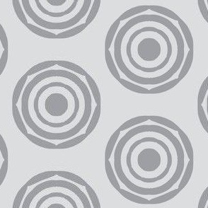 Rotating Rings of Mystic Grey on Silver Mist