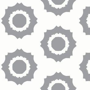 Torn Octo Spots of Mystic Grey on Icy Cream - Medium Scale