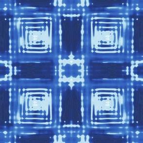 Blue Shibori Plaid large