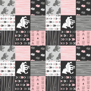 """3"""" horse Patchwork - pink and black - rotated"""