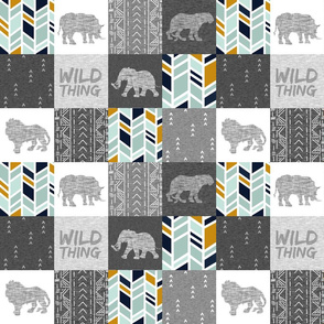 "3"" Wild Thing Safari Quilt - mint, gold, grey"