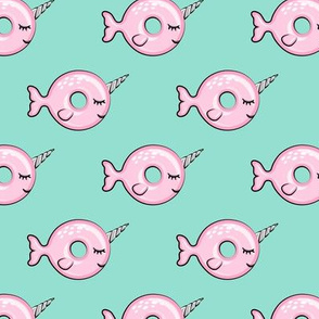 Narwhal donuts - pink on aqua - doughnuts - LAD19