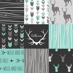 Patchwork Deer - custom grey and teal -
