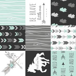 Horse Patchwork - aqua/Mint, Black And grey