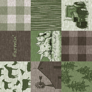 Farmin Quilt - Green And Brown rotated