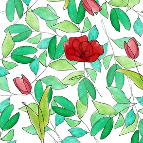 Pattern tulips and poppies