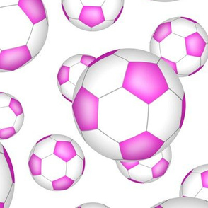 Pink and white soccer balls on white - large
